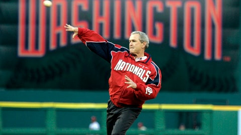 <p>               FILE - In this April 14, 2005, file photo, President George W. Bush throws out the ceremonial first pitch at the Washington Nationals home opener in Washington. The Nationals play the Arizona Diamondbacks in the first regular season baseball game in Washington in 34 years. (AP Photo/Evan Vucci, file)             </p>