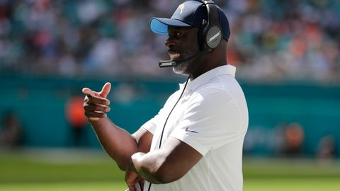 <p>               Los Angeles Chargers head coach Anthony Lynn, gestures, during the second half at an NFL football game against the Miami Dolphins, Sunday, Sept. 29, 2019, in Miami Gardens, Fla. (AP Photo/Lynne Sladky)             </p>