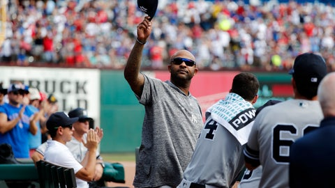 <p>               New York Yankees' CC Sabathia acknowledges cheers from fans after he was celebrated by the Texas Rangers in the second inning of a baseball game in Arlington, Texas, Sunday, Sept. 29, 2019. (AP Photo/Tony Gutierrez)             </p>