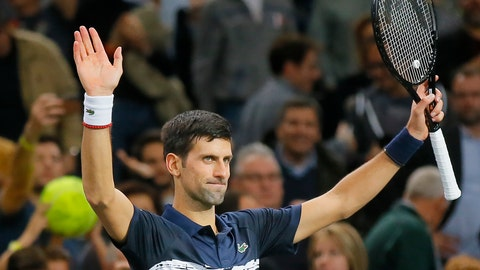 <p>               Serbia's Novak Djokovic reacts after defeating France's Corentin Moutet 7-6, 6-4 during the 2nd round match of the Paris Masters tennis tournament in Paris, France, Wednesday, Oct. 30, 2019. (AP Photo/Michel Euler)             </p>