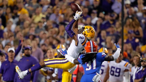 <p>               LSU wide receiver Justin Jefferson (2) catches a pass over Florida defensive back Shawn Davis (31) in the first half of an NCAA college football game in Baton Rouge, La., Saturday, Oct. 12, 2019. (AP Photo/Gerald Herbert)             </p>