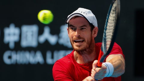 <p>               Andy Murray of Britain hits a return shot against his compatriot Cameron Norrie during their second round of the men's singles match in the China Open tennis tournament at the Diamond Court in Beijing, Wednesday, Oct. 2, 2019. (AP Photo/Andy Wong)             </p>