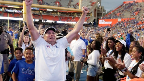<p>               Florida head coach Dan Mullen celebrates in front of fans as he leaves the field after defeating Auburn in an NCAA college football game, Saturday, Oct. 5, 2019, in Gainesville, Fla. (AP Photo/John Raoux)             </p>