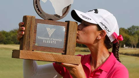 <p>               Cheyenne Knight, from Aledo, Texas, kisses the trophy after winning the LPGA Volunteers of America golf tournament Sunday, Oct. 6, 2019, at Old American Golf Club in The Colony, Texas. (AP Photo/David Kent)             </p>