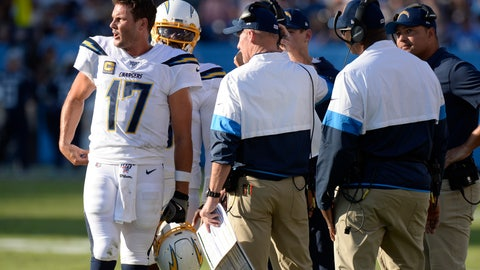 <p>               Los Angeles Chargers quarterback Philip Rivers (17) talks with coaches in the first half of an NFL football game against the Tennessee Titans Sunday, Oct. 20, 2019, in Nashville, Tenn. (AP Photo/Mark Zaleski)             </p>
