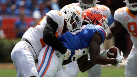 <p>               Florida wide receiver Tyrie Cleveland, right, makes a reception in front of Tennessee defensive back Bryce Thompson during the first half of an NCAA college football game, Saturday, Sept. 21, 2019, in Gainesville, Fla. (AP Photo/John Raoux)             </p>
