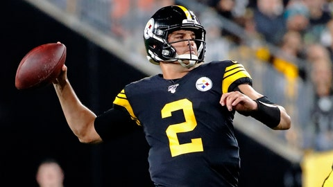 <p>               Pittsburgh Steelers quarterback Mason Rudolph (2) looks to throw a pass during the first half of an NFL football game against the Miami Dolphins in Pittsburgh, Monday, Oct. 28, 2019. (AP Photo/Don Wright)             </p>