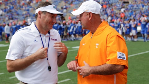 <p>               Florida head coach Dan Mullen, left, and Tennessee head coach Jeremy Pruitt greet each other on the field prior to an NCAA college football game, Saturday, Sept. 21, 2019, in Gainesville, Fla. (AP Photo/John Raoux)             </p>
