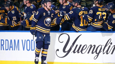 <p>               Buffalo Sabres forward Jack Eichel (9) celebrates his goal during the second period of the team's NHL hockey game against the Montreal Canadiens, Wednesday, Oct. 9, 2019, in Buffalo, N.Y. (AP Photo/Jeffrey T. Barnes)             </p>