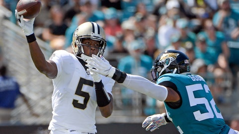 <p>               New Orleans Saints quarterback Teddy Bridgewater (5) releases a pass just before he is hit by Jacksonville Jaguars linebacker Najee Goode (52) during the first half of an NFL football game, Sunday, Oct. 13, 2019, in Jacksonville, Fla. (AP Photo/Phelan M. Ebenhack)             </p>