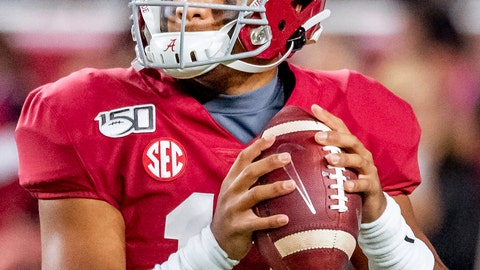 <p>               FILE - In this Oct. 19, 2019, file photo, Alabama quarterback Tua Tagovailoa (13) warms up before an NCAA college football game against Tennessee, in Tuscaloosa, Ala. The SEC hasn't had a quarterback picked in the first round of the NFL draft since Johnny Manziel in 2014, and the league has never had more than one quarterback taken in the first round. It appears that's about to change, as Tua Tagovailoa, Joe Burrow and possibly Jake Fromm could make the next draft the best ever for SEC quarterbacks. (AP Photo/Vasha Hunt, File)             </p>