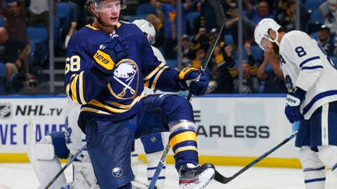 <p>               Buffalo Sabres forward Victor Olofsson (68) celebrates his goal during the third period of an NHL preseason hockey game against the Toronto Maple Leafs, Saturday, Sept. 21, 2019, in Buffalo, N.Y. (AP Photo/Jeffrey T. Barnes)             </p>