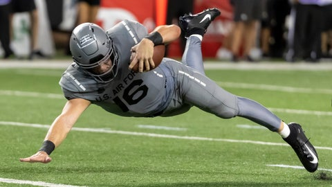 <p>               Air Force quarterback Mike Schmidt (16) dives in for a touchdown during the second half of an NCAA college football game, Saturday, Oct. 19, 2019, in Honolulu. Air Force beat Hawaii 56-26. (AP Photo/Eugene Tanner)             </p>