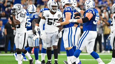 <p>               Oakland Raiders outside linebacker Vontaze Burfict (55) speaks with Indianapolis Colts tight end Jack Doyle (84) after his helmet-to-helmet hit on Doyle during the first half of an NFL football game in Indianapolis, Sunday, Sept. 29, 2019. Burfict has been suspended for the rest of the season for the hit. (AP Photo/Doug McSchooler)             </p>