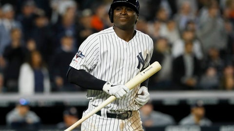 <p>               New York Yankees' Didi Gregorius reacts after flying out with two runners on baser to end the fifth inning in Game 3 of baseball's American League Championship Series against the Houston Astros Tuesday, Oct. 15, 2019, in New York. (AP Photo/Matt Slocum)             </p>
