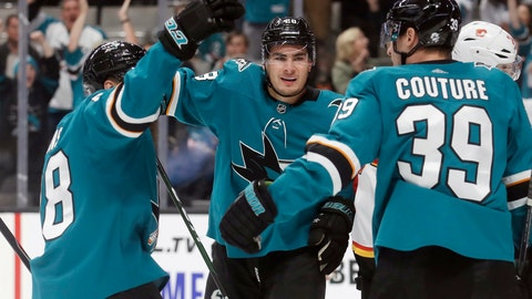<p>               San Jose Sharks right wing Timo Meier, center, celebrates with Brent Burns, left, and Logan Couture after scoring a goal against the Calgary Flames during the first period of an NHL hockey game in San Jose, Calif., Sunday, Oct. 13, 2019. (AP Photo/Jeff Chiu)             </p>