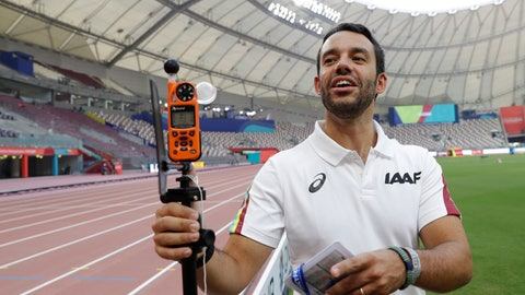 <p>               Dr. Paolo Adami explains the use of a heat measuring sensor at the World Athletics Championships in Doha, Qatar, Monday, Sept. 30, 2019. There are around 200 endurance athletes at the world championships swallowing a capsule as part of an IAAF research project on the effects of heat. They couldn't have picked a better time or place in Doha, where the temperatures are soaring. The data could be used to help athletes prepare for the Tokyo Games in less than a year and where conditions are expected to be every bit as stifling. (AP Photo/Petr David Josek)             </p>