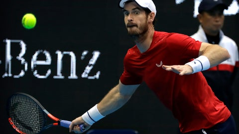 <p>               Andy Murray of Britain looks to hit a return shot while competing against Dominic Thiem of Austria in their quarterfinal match in the China Open tennis tournament in Beijing, Friday, Oct. 4, 2019. (AP Photo/Mark Schiefelbein)             </p>