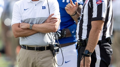 <p>               Duke head coach David Cutcliffe, left, speaks with an official during an NCAA college football game against Georgia Tech in Durham, N.C., Saturday, Oct. 12, 2019. (AP Photo/Ben McKeown)             </p>
