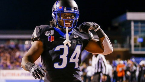 <p>               Boise State running back Robert Mahone celebrates after a 10-yard touchdown run against Air Force during the second half of an NCAA college football game Friday, Sept. 20, 2019, in Boise, Idaho. Boise State won 30-19. (AP Photo/Steve Conner)             </p>
