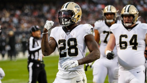 <p>               New Orleans Saints running back Latavius Murray (28) celebrates a touchdown during the second half of an NFL football game against the Chicago Bears in Chicago, Sunday, Oct. 20, 2019. (AP Photo/Charles Rex Arbogast)             </p>