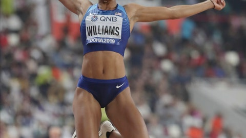 <p>               Kendell Williams, of the United States, competes in the heptathlon long jump at the World Athletics Championships in Doha, Qatar, Thursday, Oct. 3, 2019. (AP Photo/Hassan Ammar)             </p>