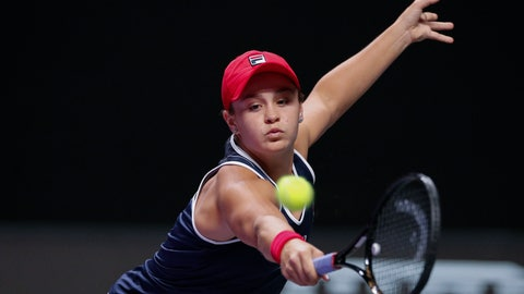 <p>               Ashleigh Barty of Australia hits a return shot against Kiki Bertens of the Netherlands during their WTA Finals Tennis Tournament in Shenzhen, China's Guangdong province, Tuesday, Oct. 29, 2019. (AP Photo/Andy Wong)             </p>