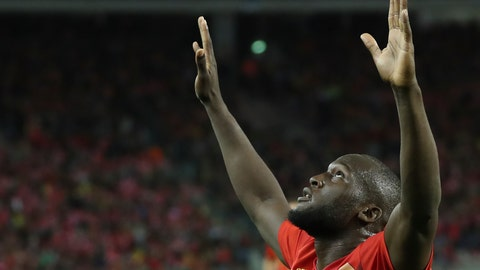<p>               Belgium's Romelo Lukaku, center, jubilates after scoring during the Euro 2020 group I qualifying soccer match between Belgium and San Marino at the King Baudouin Stadium in Brussels, Thursday, Oct. 10, 2019. (AP Photo/Francisco Seco)             </p>