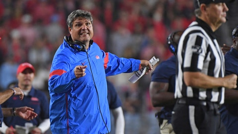 <p>               Mississippi coach Matt Luke reacts during the second half of the team's NCAA college football game against Texas A&M in Oxford, Miss., Saturday, Oct. 19, 2019. Texas A&M won 24-17. (AP Photo/Thomas Graning)             </p>