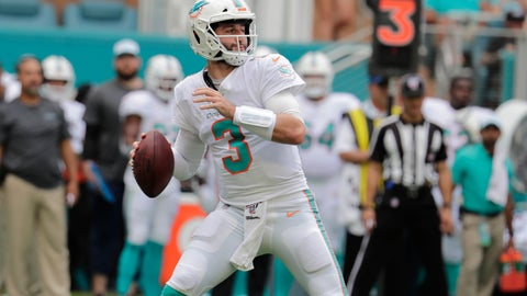 <p>               Miami Dolphins quarterback Josh Rosen (3) looks to pass, during the first half at an NFL football game against the Los Angeles Chargers, Sunday, Sept. 29, 2019, in Miami Gardens, Fla. AP Photo/Lynne Sladky)             </p>