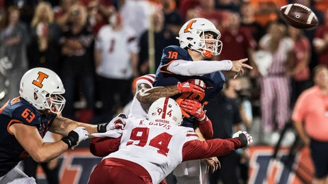 <p>               Illinois quarterback Brandon Peters (18) is hit by Nebraska's Khalil Davis (94) as he releases the ball in the second half of the team's NCAA college football game against Nebraska, Saturday, Sept. 21, 2019, in Champaign, Ill. (AP Photo/Holly Hart)             </p>