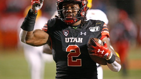 <p>               Utah running back Zack Moss scores on a 32-yard run against Arizona State during the second half of an NCAA college football game Saturday, Oct. 19, 2019, in Salt Lake City. (AP Photo/Rick Bowmer)             </p>