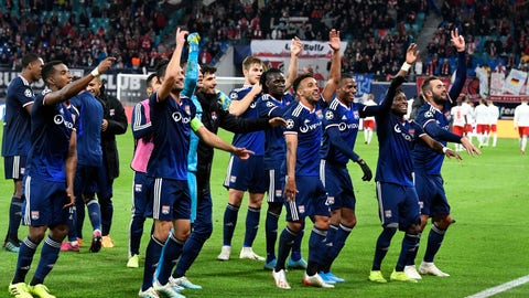 <p>               Lyon players celebrate after winning the Champions League group G first round soccer match between RB Leipzig and Olympique Lyon, in Leipzig, Germany, Wednesday, Oct. 2, 2019. (AP Photo/Jens Meyer)             </p>