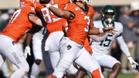 <p>               Oklahoma State quarterback Spencer Sanders (3) throws a pass during the first half of an NCAA college football game against Baylor in Stillwater, Okla., Saturday, Oct. 19, 2019. (AP Photo/Brody Schmidt)             </p>