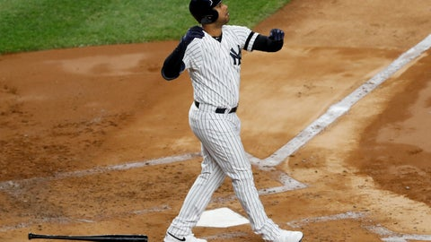 <p>               New York Yankees' Aaron Hicks watches his three-run home run against the Houston Astros during the first inning in Game 5 of baseball's American League Championship Series Friday, Oct. 18, 2019, in New York. (AP Photo/Kathy Willens)             </p>