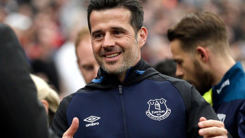 <p>               FILE - In this Saturday, March 30, 2019 file photo, Everton manager Marco Silva greets West Ham manager Manuel Pellegrini before the start of the English Premier League soccer match between West Ham United and Everton at London Stadium in London. The second international break of the Premier League campaign is a chance for clubs to take stock of the season, assess what is going right or wrong after the opening eight matches. The early-season review will not make good reading for Marco Silva. Everton is struggling despite another offseason of heavy spending and having played just one opponent so far that finished in the top six last season. (AP Photo/Tim Ireland, File)             </p>