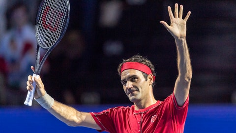 <p>               Switzerland's Roger Federer acknowledges the crowd after winning his first round match against Germany's Peter Gojowczyk at the Swiss Indoor tennis tournament at the St. Jakobshalle in Basel, Switzerland, on Monday, Oct. 21, 2019. (Georgios Kefalas/Keystone via AP)             </p>