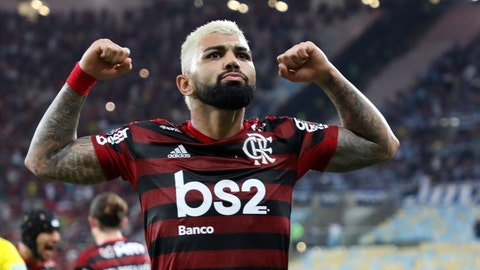 <p>               Gabriel of Brazil's Flamengo celebrates after scoring his side's 3rd goal during a Copa Libertadores semifinal second leg soccer match against Brazil's Gremio at the Maracana stadium in Rio de Janeiro, Brazil, Wednesday, Oct. 23, 2019. (AP Photo/Fabio Motta)             </p>