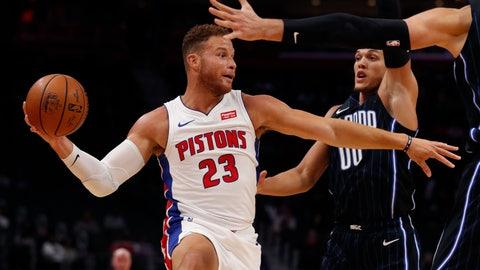 <p>               Detroit Pistons forward Blake Griffin (23) passes as Orlando Magic forward Aaron Gordon (00) defends during the first half of an NBA basketball game, Monday, Oct. 7, 2019, in Detroit. (AP Photo/Carlos Osorio)             </p>