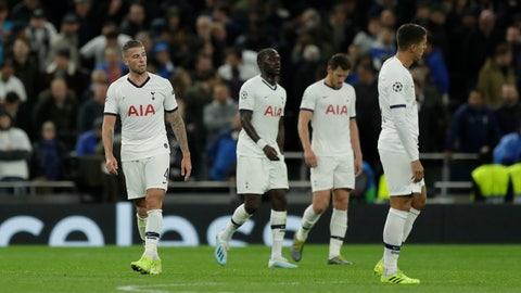 <p>               Tottenham players react after the fifth goal of Bayern during the Champions League group B soccer match between Tottenham and Bayern Munich at the Tottenham Hotspur stadium in London, Tuesday, Oct. 1, 2019. (AP Photo/Matt Dunham)             </p>