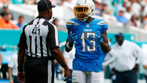 <p>               Los Angeles Chargers wide receiver Keenan Allen (13) argues a call with side judge Anthony Jeffries, during the first half at an NFL football game against the Miami Dolphins, Sunday, Sept. 29, 2019, in Miami Gardens, Fla. Allen's touchdown was nullified due to offensive pass interference, (AP Photo/Wilfredo Lee)             </p>
