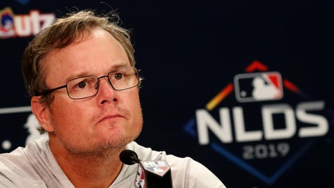 <p>               St. Louis Cardinals manager Mike Shildt listens to a question during a news conference Tuesday, Oct. 8, 2019, in Atlanta. St. Louis will face the Atlanta Braves in Game 5 of the NLCS Wednesday in Atlanta. (AP Photo/John Bazemore)             </p>