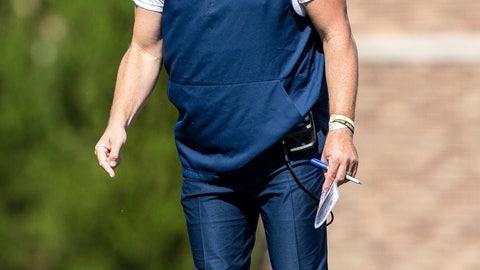 <p>               Georgia Tech head coach Geoff Collins shouts towards the field during an NCAA college football game against Duke in Durham, N.C., Saturday, Oct. 12, 2019. (AP Photo/Ben McKeown)             </p>
