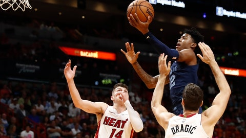<p>               Memphis Grizzlies' Ja Morant (12) shoots as Miami Heat guards Tyler Herro (14) and Goran Dragic (7) defend during the first half of an NBA basketball game Wednesday, Oct. 23, 2019, in Miami. (AP Photo/Brynn Anderson)             </p>