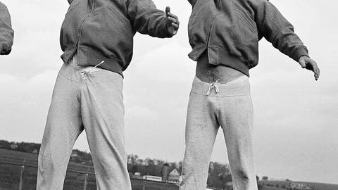 <p>               FILE - In this Nov. 4, 1949, file photo, Los Angeles Rams quarterbacks Bob Waterfield, left, and Norm Van Brocklin warm up at a practice session in Hershey, Pa. Waterfield was the NFL MVP in 1945 as a rookie while leading the Cleveland Rams to the championship. Then the former UCLA player got to go home to California when the franchise moved to Los Angeles following that title season. Waterfield was a three-time All-Pro and led the league in passing twice.  (AP Photo/File)             </p>