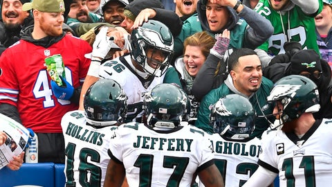 <p>               Philadelphia Eagles' Miles Sanders, center, celebrates his touchdown with fans during the second half of an NFL football game against the Buffalo Bills, Sunday, Oct. 27, 2019, in Orchard Park, N.Y. (AP Photo/Adrian Kraus)             </p>