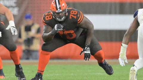 <p>               FILE - In this Sept. 22, 2019, file photo, Cleveland Browns offensive tackle Greg Robinson (78) blocks during an NFL football game against the Los Angeles Rams in Cleveland. Browns starting left offensive tackle Greg Robinson has been benched. It's likely that he will be replaced by Justin McCray, who has not started an NFL game at left tackle and has played their sparingly during his career. (AP Photo/David Richard, File)             </p>