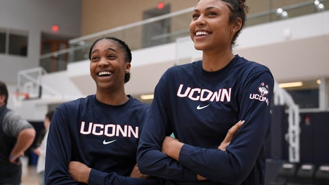 <p>               Connecticut's Aubrey Griffin, left, and Olivia Nelson-Ododa, right, watch the men's team shoot before UConn's men's and women's basketball teams' annual First Night celebration in Storrs, Conn, Friday, Oct. 18, 2019, in Storrs, Conn. (AP Photo/Jessica Hill)             </p>