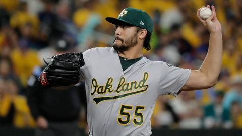 <p>               Oakland Athletics starting pitcher Sean Manaea throws to a Seattle Mariners batter during the first inning of a baseball game Thursday, Sept. 26, 2019, in Seattle. (AP Photo/Ted S. Warren)             </p>