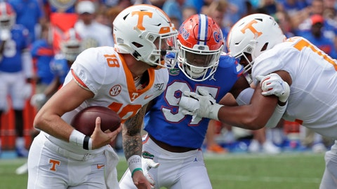 <p>               Tennessee quarterback Brian Maurer, left, scrambles for yardage as he is pressured by Florida linebacker Khris Bogle, center, during the second half of an NCAA college football game, Saturday, Sept. 21, 2019, in Gainesville, Fla. (AP Photo/John Raoux)             </p>